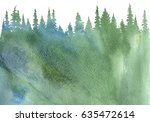 watercolor landscape with fir... | Shutterstock . vector #635472614