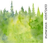 watercolor landscape with fir... | Shutterstock . vector #635472653