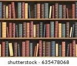 vintage books on bookshelf. old ... | Shutterstock . vector #635478068