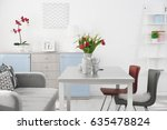 modern living room with table... | Shutterstock . vector #635478824