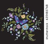 embroidery trend floral pattern ... | Shutterstock .eps vector #635483768