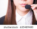 female customer support phone... | Shutterstock . vector #635489480