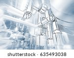 sketch of piping design concept.... | Shutterstock . vector #635493038
