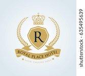 hotel logo. luxury crests icon. ... | Shutterstock .eps vector #635495639