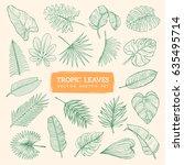 tropic leaves sketch set. eps10 ... | Shutterstock .eps vector #635495714