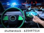 vehicle cockpit and screen  car ... | Shutterstock . vector #635497514