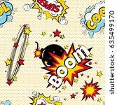 seamless pattern cartoon comic... | Shutterstock .eps vector #635499170