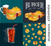 set of burger grilled beef and... | Shutterstock .eps vector #635499404