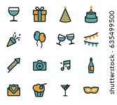 vector flat party icons set on... | Shutterstock .eps vector #635499500