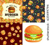 set of burger grilled beef and... | Shutterstock .eps vector #635499794