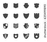 vector black shield icons set... | Shutterstock .eps vector #635499890