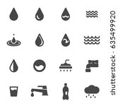 vector black water icons set on ... | Shutterstock .eps vector #635499920