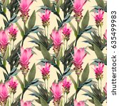 exotic flowers seamless pattern.... | Shutterstock . vector #635499983