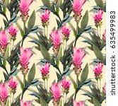exotic flowers seamless pattern.... | Shutterstock . vector #635499983