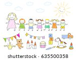 vector illustration with happy... | Shutterstock .eps vector #635500358