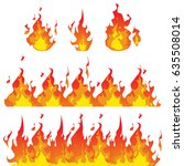 vector illustration. fire flame ... | Shutterstock .eps vector #635508014