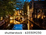 night view of bruges city ... | Shutterstock . vector #635509250