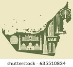 map of the uae with silhouettes ... | Shutterstock .eps vector #635510834