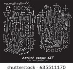 vector hand drawn arrows set... | Shutterstock .eps vector #635511170