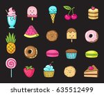 funny flat icons of donuts ... | Shutterstock .eps vector #635512499