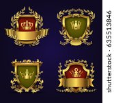 royal heraldic vector emblems... | Shutterstock .eps vector #635513846