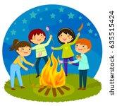 Happy Kids Having A Bonfire...