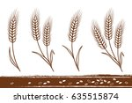 isolated hand drawn wheat ears... | Shutterstock .eps vector #635515874