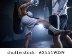 low section of training kicks   | Shutterstock . vector #635519039