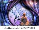 surrealism. figure of man in... | Shutterstock . vector #635525024