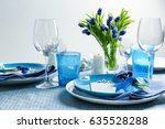 beautiful table setting with... | Shutterstock . vector #635528288