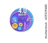industry 4.0 concept bubbles... | Shutterstock .eps vector #635529680
