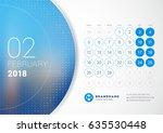 february 2018. desk calendar... | Shutterstock .eps vector #635530448