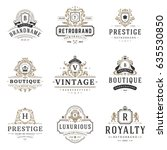 luxury monogram logos templates ... | Shutterstock .eps vector #635530850
