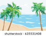 tropical beach with palm trees.  | Shutterstock . vector #635531408
