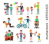 loving fathers make presents... | Shutterstock .eps vector #635531423