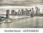 manhattan skyline with brooklyn ... | Shutterstock . vector #635536820