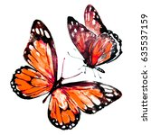Stock photo beautiful red butterflies watercolor isolated on a white 635537159