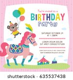birthday invitation card with... | Shutterstock .eps vector #635537438