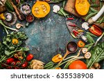 healthy and organic harvest... | Shutterstock . vector #635538908