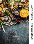 pumpkin and other  autumn...   Shutterstock . vector #635539694