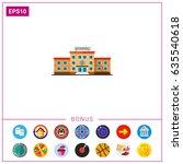 three storied school building... | Shutterstock .eps vector #635540618
