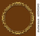 frame gold color with shadow on ... | Shutterstock .eps vector #635545343