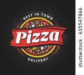 pizzeria vector emblem on...   Shutterstock .eps vector #635547866
