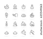 spicy food vector line icons ...