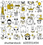 vector set of cute doodle... | Shutterstock .eps vector #635551454