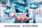 businessman connecting tech... | Shutterstock . vector #635553800