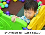 happy boy children playing and... | Shutterstock . vector #635555630