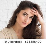 young woman casual natural... | Shutterstock . vector #635556470