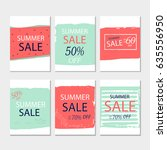set of 6  summer discount cards ... | Shutterstock .eps vector #635556950