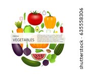 healthy vegetables such as ... | Shutterstock .eps vector #635558306